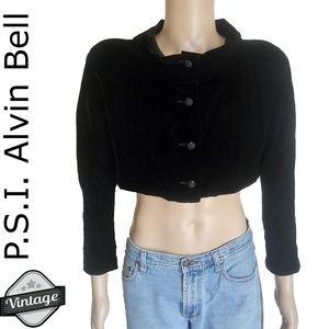 Vintage PSI Alvin Bell Black Velvet Bolero Jacket